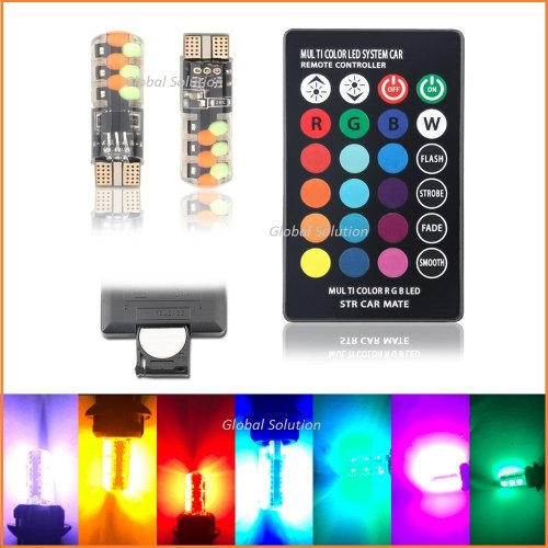 T10 2W COB MULTI COLOR RGB LED (Комплект)+пульт ДУ
